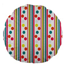 Stripes And Polka Dots Colorful Pattern Wallpaper Background Large 18  Premium Round Cushions
