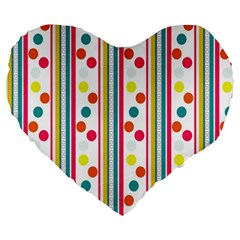 Stripes And Polka Dots Colorful Pattern Wallpaper Background Large 19  Premium Heart Shape Cushions