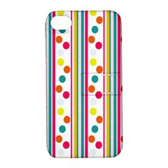 Stripes And Polka Dots Colorful Pattern Wallpaper Background Apple Iphone 4/4s Hardshell Case With Stand