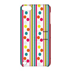 Stripes And Polka Dots Colorful Pattern Wallpaper Background Apple Ipod Touch 5 Hardshell Case With Stand