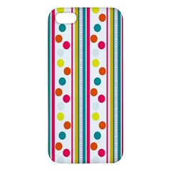 Stripes And Polka Dots Colorful Pattern Wallpaper Background Apple iPhone 5 Premium Hardshell Case