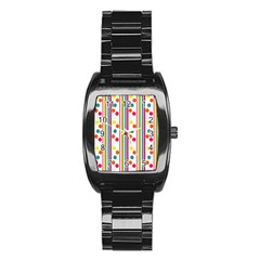 Stripes And Polka Dots Colorful Pattern Wallpaper Background Stainless Steel Barrel Watch