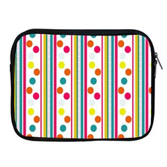 Stripes And Polka Dots Colorful Pattern Wallpaper Background Apple iPad 2/3/4 Zipper Cases