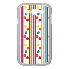 Stripes And Polka Dots Colorful Pattern Wallpaper Background Samsung Galaxy Grand DUOS I9082 Case (White)