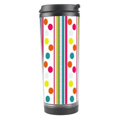 Stripes And Polka Dots Colorful Pattern Wallpaper Background Travel Tumbler