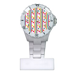 Stripes And Polka Dots Colorful Pattern Wallpaper Background Plastic Nurses Watch