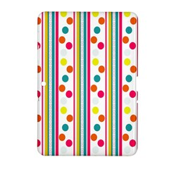 Stripes And Polka Dots Colorful Pattern Wallpaper Background Samsung Galaxy Tab 2 (10.1 ) P5100 Hardshell Case
