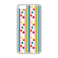 Stripes And Polka Dots Colorful Pattern Wallpaper Background Apple Iphone 5c Seamless Case (white)