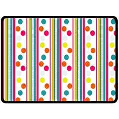 Stripes And Polka Dots Colorful Pattern Wallpaper Background Double Sided Fleece Blanket (large)