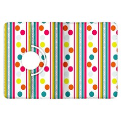 Stripes And Polka Dots Colorful Pattern Wallpaper Background Kindle Fire Hdx Flip 360 Case