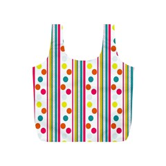 Stripes And Polka Dots Colorful Pattern Wallpaper Background Full Print Recycle Bags (s)