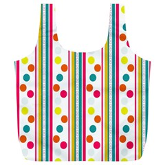 Stripes And Polka Dots Colorful Pattern Wallpaper Background Full Print Recycle Bags (l)