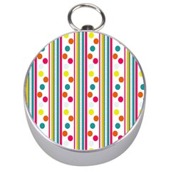 Stripes And Polka Dots Colorful Pattern Wallpaper Background Silver Compasses