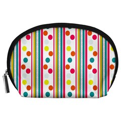 Stripes And Polka Dots Colorful Pattern Wallpaper Background Accessory Pouches (large)