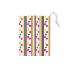 Stripes And Polka Dots Colorful Pattern Wallpaper Background Drawstring Pouches (Small)