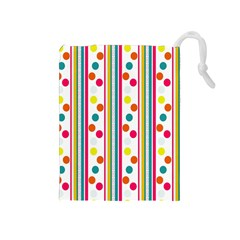 Stripes And Polka Dots Colorful Pattern Wallpaper Background Drawstring Pouches (medium)