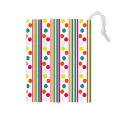 Stripes And Polka Dots Colorful Pattern Wallpaper Background Drawstring Pouches (Large)