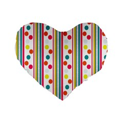 Stripes And Polka Dots Colorful Pattern Wallpaper Background Standard 16  Premium Flano Heart Shape Cushions