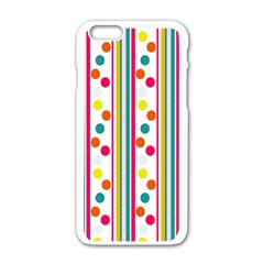 Stripes And Polka Dots Colorful Pattern Wallpaper Background Apple Iphone 6/6s White Enamel Case