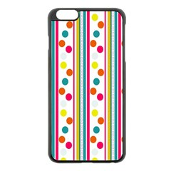 Stripes And Polka Dots Colorful Pattern Wallpaper Background Apple Iphone 6 Plus/6s Plus Black Enamel Case
