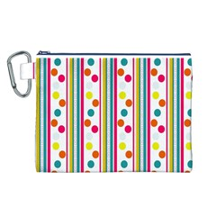 Stripes And Polka Dots Colorful Pattern Wallpaper Background Canvas Cosmetic Bag (L)