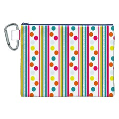 Stripes And Polka Dots Colorful Pattern Wallpaper Background Canvas Cosmetic Bag (XXL)