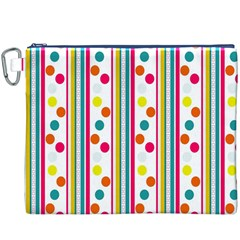 Stripes And Polka Dots Colorful Pattern Wallpaper Background Canvas Cosmetic Bag (xxxl)
