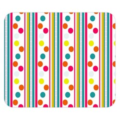 Stripes And Polka Dots Colorful Pattern Wallpaper Background Double Sided Flano Blanket (Small)