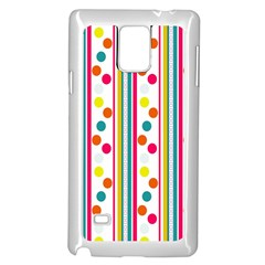 Stripes And Polka Dots Colorful Pattern Wallpaper Background Samsung Galaxy Note 4 Case (White)