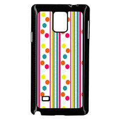 Stripes And Polka Dots Colorful Pattern Wallpaper Background Samsung Galaxy Note 4 Case (Black)