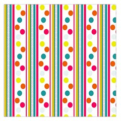 Stripes And Polka Dots Colorful Pattern Wallpaper Background Large Satin Scarf (Square)
