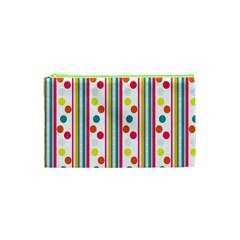 Stripes And Polka Dots Colorful Pattern Wallpaper Background Cosmetic Bag (xs)