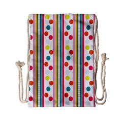 Stripes And Polka Dots Colorful Pattern Wallpaper Background Drawstring Bag (Small)