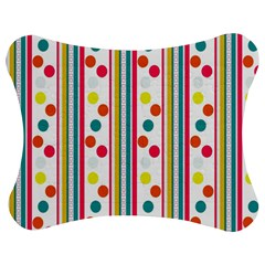 Stripes And Polka Dots Colorful Pattern Wallpaper Background Jigsaw Puzzle Photo Stand (Bow)