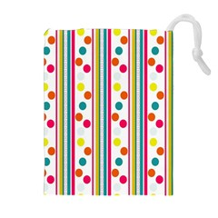 Stripes And Polka Dots Colorful Pattern Wallpaper Background Drawstring Pouches (extra Large)