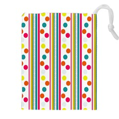 Stripes And Polka Dots Colorful Pattern Wallpaper Background Drawstring Pouches (XXL)