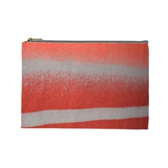 Orange Stripes Colorful Background Textile Cotton Cloth Pattern Stripes Colorful Orange Neo Cosmetic Bag (large)