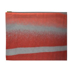 Orange Stripes Colorful Background Textile Cotton Cloth Pattern Stripes Colorful Orange Neo Cosmetic Bag (xl)