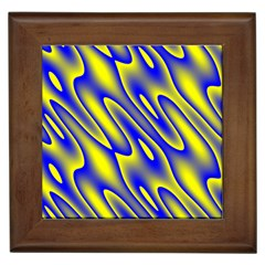 Blue Yellow Wave Abstract Background Framed Tiles