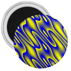 Blue Yellow Wave Abstract Background 3  Magnets