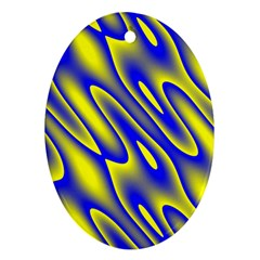 Blue Yellow Wave Abstract Background Ornament (Oval)