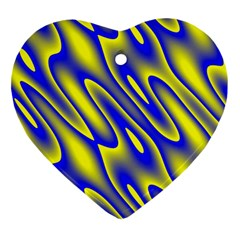 Blue Yellow Wave Abstract Background Ornament (Heart)