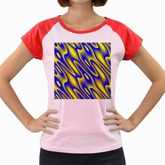 Blue Yellow Wave Abstract Background Women s Cap Sleeve T-Shirt