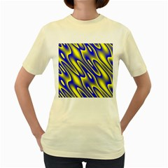 Blue Yellow Wave Abstract Background Women s Yellow T Shirt