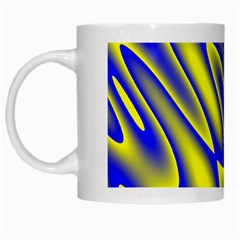 Blue Yellow Wave Abstract Background White Mugs