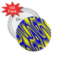 Blue Yellow Wave Abstract Background 2.25  Buttons (100 pack)