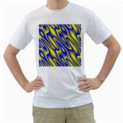 Blue Yellow Wave Abstract Background Men s T-Shirt (White) (Two Sided)