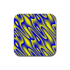 Blue Yellow Wave Abstract Background Rubber Coaster (square)