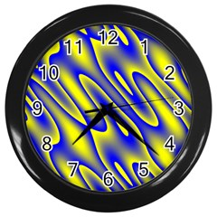 Blue Yellow Wave Abstract Background Wall Clocks (Black)