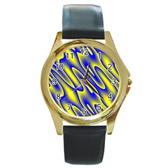 Blue Yellow Wave Abstract Background Round Gold Metal Watch